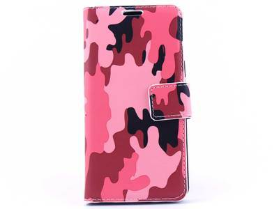 Samsung A5 bookcase Camouflage Roze